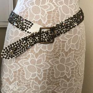 Vintage White Leather Belt W/ Swarovski Crystals